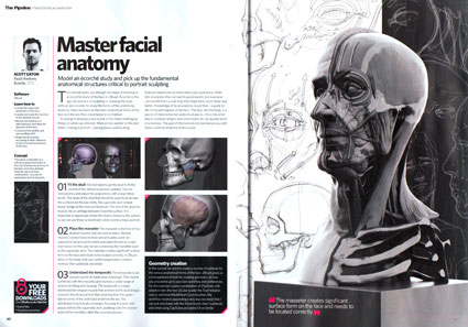 3dArtist magazine tutorial covering the important anatomical structures of the face