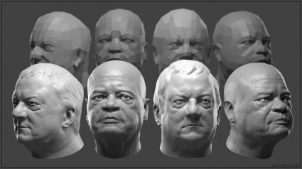 Demo sculpts from my Facial Anatomy workshop at Blizzard and Unbisoft