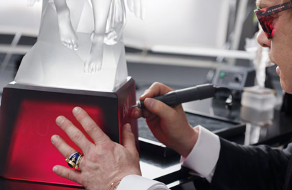 Elton signing the Lost Wax Angel