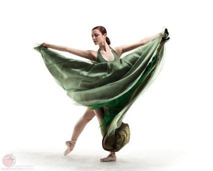 Ballet dancer in green dress