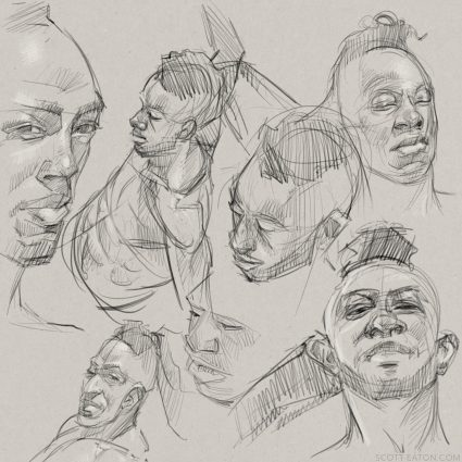 Head drawings from BiM - multiple angles, working on construction, feature drawing
