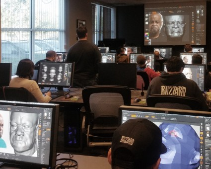 Sculpting facial expressions in ZBrush during Scott Eaton's Facial Anatomy workshop