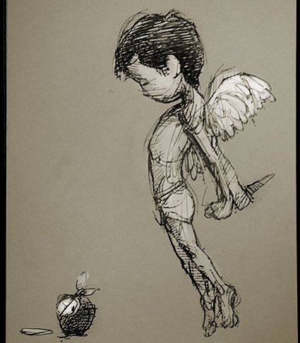 small angel drawing from a pocket sketchbook