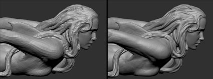 remeshed topology from 3dCoat and the final sculpture in Zbrush