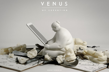 Venus of Cupertino docking station with sketchbooks and parts