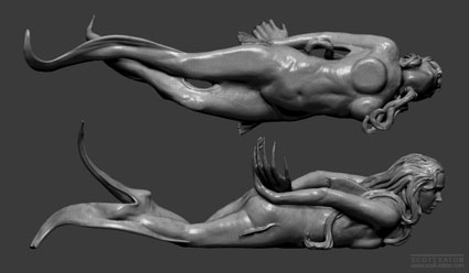 views showing the figure contact with the box from Zbrush