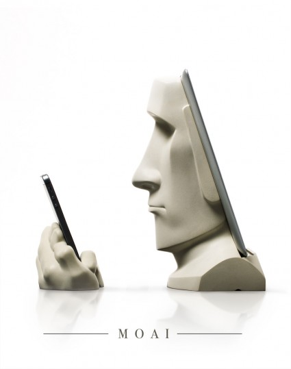 Moai ipad Docking Station profile view. Remixed from the ancient Easter Island statues.