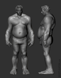 Fitting the prosthetic design to the actor's anatomy in ZBrush