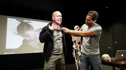 The platysma muscle on demonstrated at Scott Eaton's Facial Anatomy masterclass at Industrial LIght and Magic