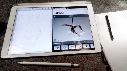 drawing on the ipad pro using split screen - bodies in motion and proreate