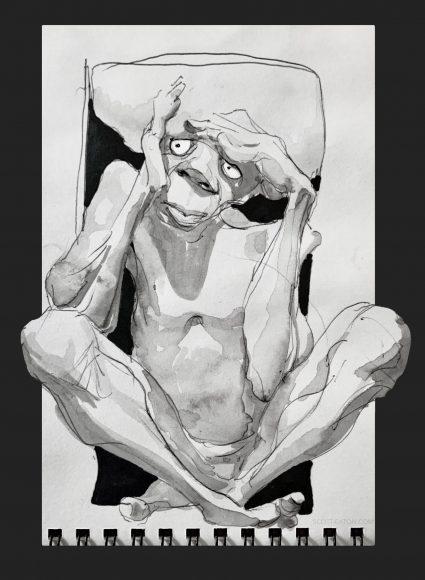 Drawing - Scott Eaton - Man Thinking