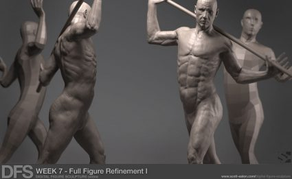 Refining the full figure sculpture in ZBrush