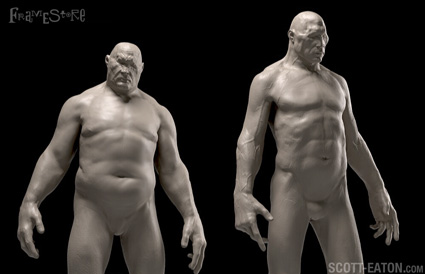 studies in ZBrush for the Cyclops in Wrath of the Titans